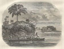 A5533 Rio Usumasinta - Barca - Xilografia - Stampa Antica del 1850 - Engraving