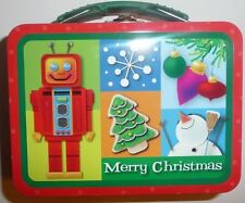 Small Toddler size lunch crayon box tote trinket craft case tin Christmas Robot