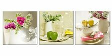 [Framed] White Floral in Dining Room Canvas Wall Art Prints Picture Home Decor