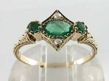 CUTE 9K 9CT GOLD ART DECO INS EMERALD & SEED PEARL RING FREE RESIZE