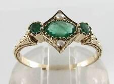 Adorable 9K 9CT Oro Art Deco INS Esmeralda & Anillo de perla semilla sin cambiar el tamaño