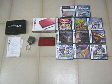 Nintendo DS Lite lot, crimson/black, original box, 11 games, Mario Sonic, TESTED
