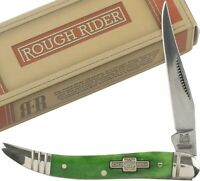 Rough Rider Peacock Green Smooth Bone Handles Toothpick Folding Knife RR062