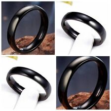 25X Quality 4mm Band Black Couples Jewelry Gift Stainless Steel Rings wholesale