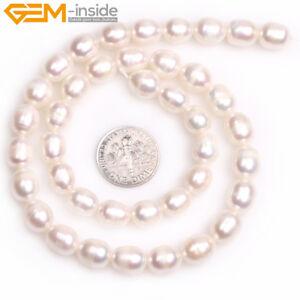 "8-9x9-10mm Egg Potato White Pink Grey Freshwater Pearl Jewelry Making Beads 15"""