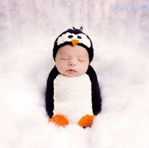 Newborn Baby Crochet Knit Pinguin Costume Photography Prop Hat Sleeping Sack