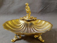 Vintage Art Deco Cherub Soap Dish Gold Ormolu Footed Clam Shell