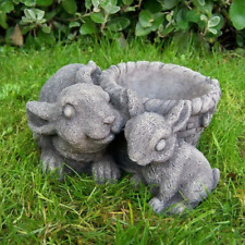 More details for stone cast flower pot with rabbits