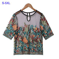 Women O-neck Floral Embroidered Tops Short Sleeve Mesh T-Shirt Blouse S-5XL