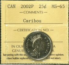 2002 P Canada 25 Cents ICCS MS 65 Caribou #5238