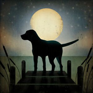 LABRADOR RETRIEVER BLACK LAB DOG PRINT RETRO STYLE POSTER - Moonrise Lake