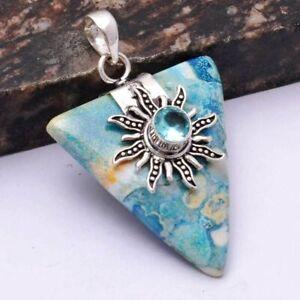 "Jasper Blue Topaz Ethnic Handmade Pendant Jewelry 2.16"" AP 43950"