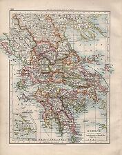 Carte de 1914 ~ grèce ~ cyclades arcadia messenia morea