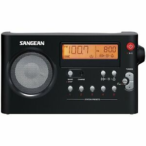 Sangean AM/FM Digital Rechargeable Compact Portable Clock Radio - PR-D7BK