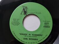 """EARL RICHARDS - Walkin In Teardrops / How Can I Tell Her PRIVATE 1973 COUNTRY 7"""""""