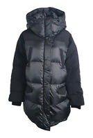 THE KOOPLES Black Bi Material Long Down Filled Puffer Jacket (2 | UK 12 | EU 38)