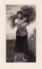 """1800s JULES BRETON Detailed Antique Etching """"Gleaner working the Fields"""" COA"""