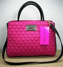 Betsey Johnson Bowler Purse Fushia Pink Black Quilted Heart Faux Leather