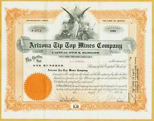 1921 ARIZONA TIP TOP MINES COMPANY, ARIZONA STOCK CERTIFICATE