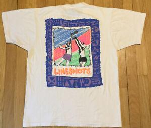 Vintage 1988 Lineshots volleyball t shirt L single stitch white 80s sports funky