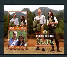Ghana 2016 MNH Prince William & Kate Visit Bhutan 2v S/S Royalty Stamps