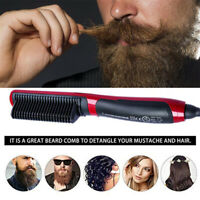 Unisex Hair Beard Curler Straightener Comb Tongs Electric Heating Ceramic Styler