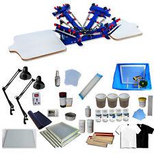 4 Color Screen Printing Press Kit Machine 2 Station Silk Screening Exposure DIY