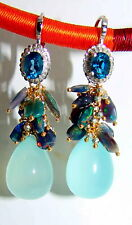 London Blue Topaz Aqua Blue Chalcedony Black Opal Earrings Sterling Silver