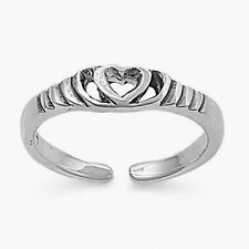 Heart Toe Ring Sterling Silver 925 Fashion Beach Adjustable Jewelry Gift