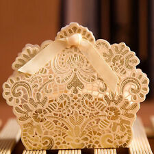 50~100pcs Lace Laser Cut Cake Candy Gift Boxes with Ribbon Wedding Favor Boxes