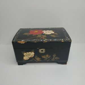 Vintage Black Lacquer Hand Painted Japanese Music Jewelry Box With Key