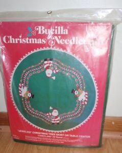 "BUCILLA CHRISTMAS NEEDLEPOINT JEWELED CHRISTMAS TREE SKIRT ""CANDYLAND"" NEW"