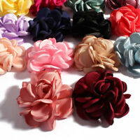 Burn Edge Hair Rose Fabric Flowers For Baby Headband Accessories Craft DIY 30pcs
