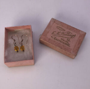 Pair of Vintage Amber Earrings - 925 Silver Gold Plated Vermeil - Boxed