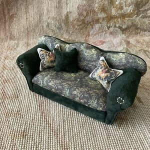 Dollhouse Miniature Green Suede Leather Sofa Couch Divan Settee W/Pillows 768