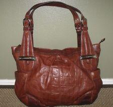 B. MAKOWSKY Large Brown Croco Embossed Leather Tote Handbag Satchel Purse
