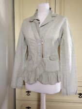 Firetrap Beige Nude Linen Ruffle Zip Light Jacket Size Medium