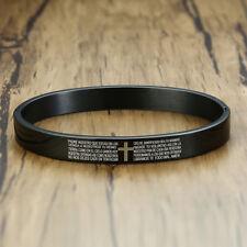 Black Men Cross Spanish Prayer Lord Bible Verse Bracelet Bangle Stainless Steel