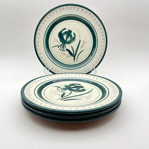 """Stangl Flemington Swirl 9"""" Plate French Green with Tiger Lily Pattern Set of 4"""