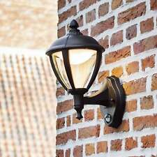 Lutec Unite Up PIR 9W Lantern Exterior LED Wall Light in Black