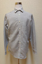 $55 Banana Republic Dress Shirt Button M Striped LINEN Cotton White Gray NWT