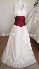Ivory burgundy halterneck wedding dress Uk 10