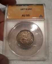 1877-S 25C Seated Liberty Quarter ANACS Certified AU-55 Looks MS!
