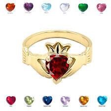 Solid Gold   Birthstone CZ Claddagh Proposal Ring