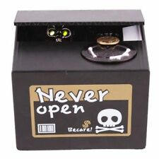 Black Automated Stealing Coins Cent Piggy Bank Skull Saving Box Toy Gift