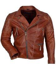 Custom Tailor Made Distressed Leather Jacket Biker Designer Oil Pull Cognac Moto