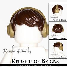LEGO Minifigure Hair DARK BROWN 10166pb03 Short Tousled with DARK TAN Earmuffs