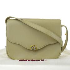 Authentic BALLY Logos Rhinestone Shoulder Bag Leather Beige Gold Italy 04B087