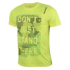 Reebok Running T Shirt Crossfit Mens Solar Yellow Short Sleeved Sports Tee Small