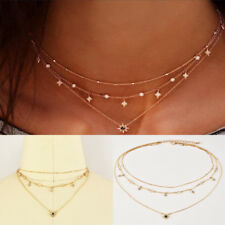 Fashion Multilayer Gold Plated Chain Choker Star Pendant Handmade Necklace